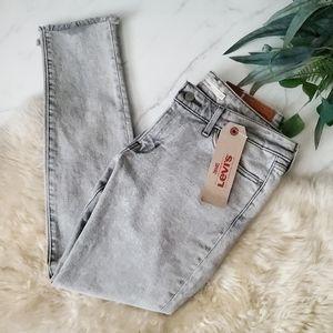 NWT Levi's 711 Skinny Light Gray Raw Hem Jeans